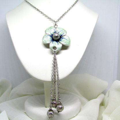 collana donna argento fiore borgunto