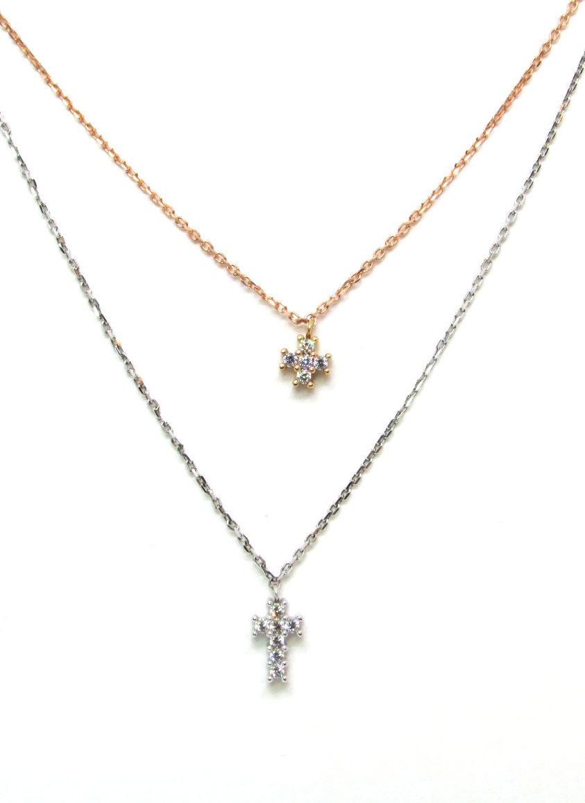 check-out cac0b 899b2 Collana donna oro bianco e oro rosa con zirconi Croce