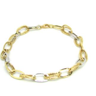 Bracciale donna oro giallo e oro bianco Anelli