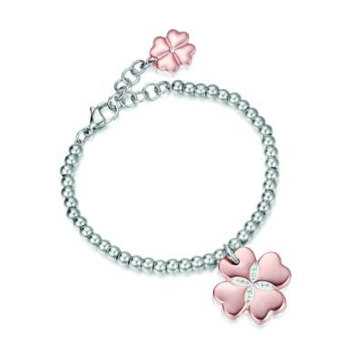 Bracciale donna acciaio Quadrifoglio acciaio rose cristalli Luca Barra