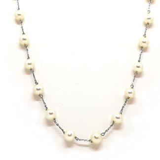 collana donna oro bianco perle acqua dolce Genesia Perle