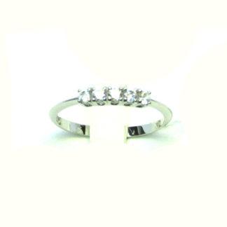 anello donna oro bianco zirconi