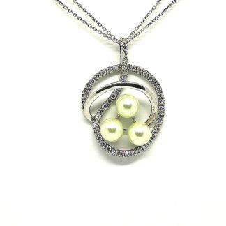 collana donna argento e perle con zirconi