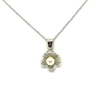 collana donna argento e zirconi perla