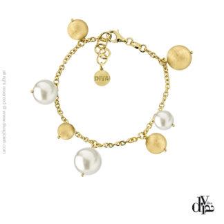 Bracciale donna argento dorato perle Luce Diva Gioielli