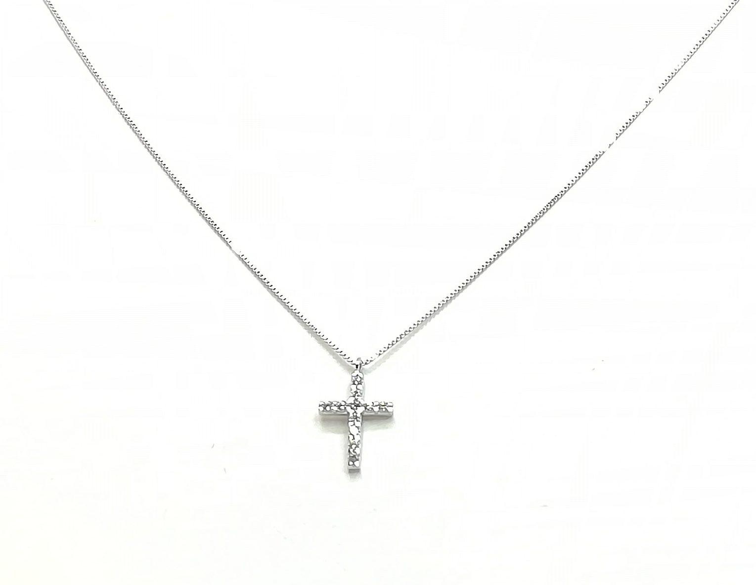 vasta selezione di 0d5a9 d8109 Collana donna oro bianco zirconi Croce