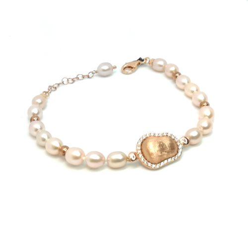 Bracciale donna argento rosè e perle acqua dolce Kikilia