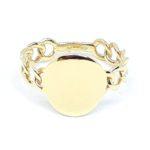 anello donna oro giallo maglia grumetta targhetta