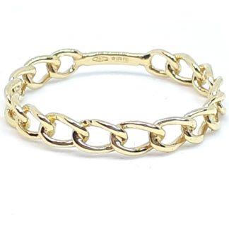 anello donna in oro giallo maglia grumetta rigido