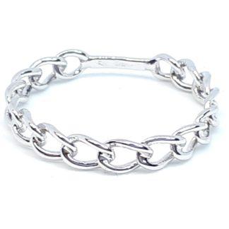 anello donna in oro bianco maglia grumetta rigido