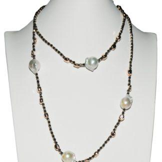 Collana donna perle di acqua dolce ematite e argento rosè Kikilia Fashion