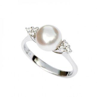 Anello oro bianco perle acqua dolce e diamanti Kikilia by Genesia Perle