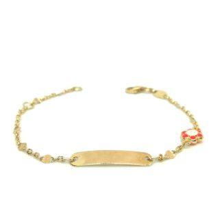 Bracciale bambina in oro giallo con targhetta e smalto, Yellow gold girl bracelet with tag and enamel