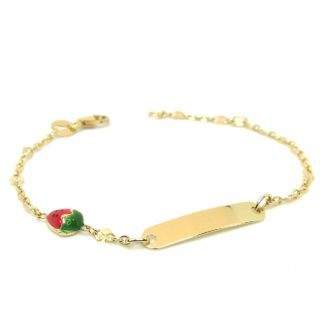 Bracciale bambina in oro giallo con targhetta e smalto Yellow gold girl bracelet with tag and enamel