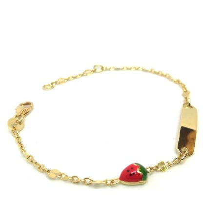 Bracciale bambina in oro giallo con targhetta e smalto Yellow gold girl bracelet with tag and enamel