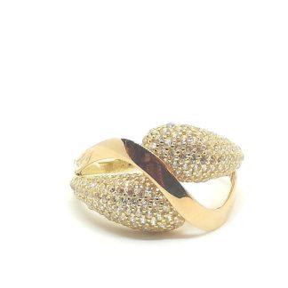 Anello a fascia in oro giallo e oro rosa con zirconi Intreccio, Yellow gold and rose gold band ring with Intreccio zircons