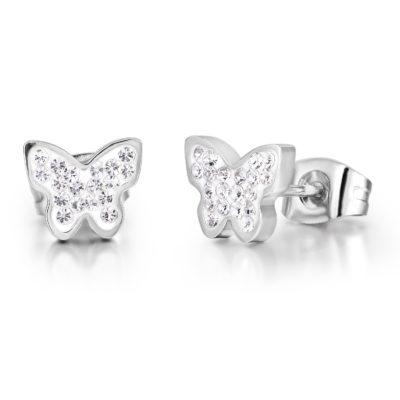 Orecchini donna Luca Barra Farfalla in acciaio con cristalli OK961