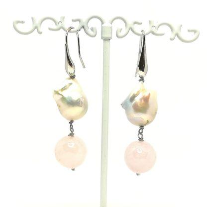 Orecchini in argento con Quarzo rosa e Perle di Acqua Dolce Barocche 0367B