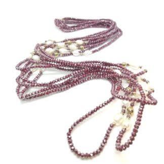 Collana di Perle di acqua dolce Ematite e Cristalli (4) DRNKM1917CI-2