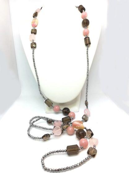 Collana in pietre dure Quarzo Fumè Opale Rosa Ematite Della Rovere Gioielli COLDR8080 (1)