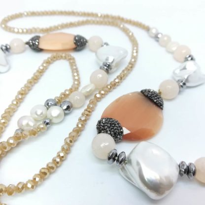 Collana chanel di Perle di Acqua Dolce Quarzo e Cristalli DRNKM1916CI