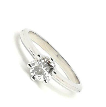 Anello Solitario in oro bianco e diamanti tipoTiffany