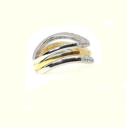 Anello donna Fascia in oro bianco oro giallo e zirconi