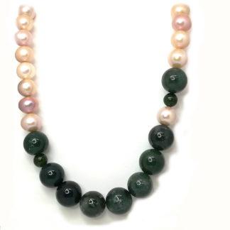 Collana con perle di acqua dolce agata e argento