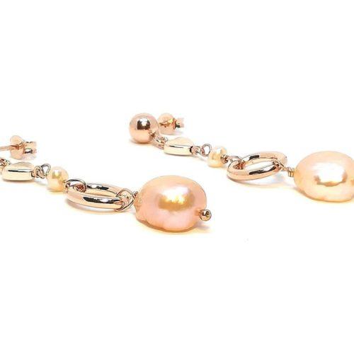 Orecchini donna in Argento rosè Perle di acqua dolce e Ematite Kikilia KOE389