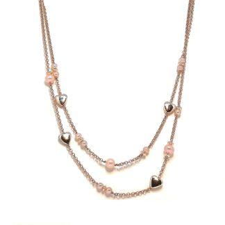 Collana donna in Argento rosè Perle di acqua dolce Kikilia KGC390