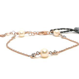 Bracciale donna in Argento rosè Perle di acqua dolce Zirconi Kikilia KBR603