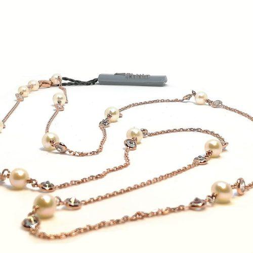 Collana donna in Argento rosè Perle di acqua dolce e Zirconi Kikilia KGC603B