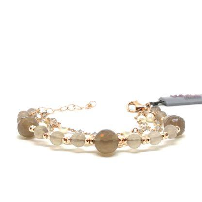 Bracciale donna in Argento rosè Perle di acqua dolce e Agata Kikilia