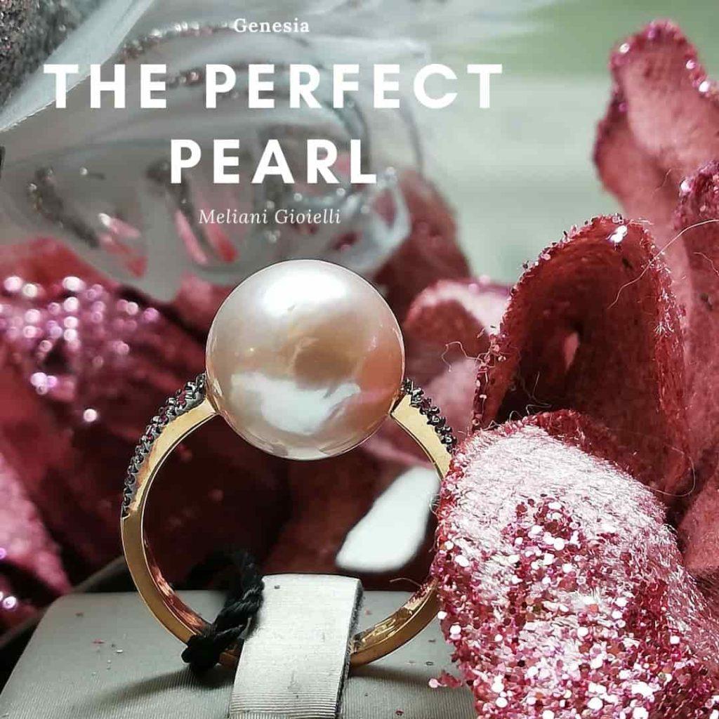 Anello donna oro rosa perle edison e zaffiro rosa Genesia Perle